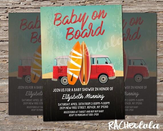 Surfboard, Baby on Board, Beach Baby Shower, Printable invitation ...