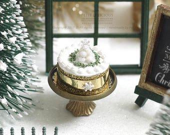 Glittery Truffle Christmas Tree Cake- Xmas- in 1/12th miniature dollhouse Christmas Food