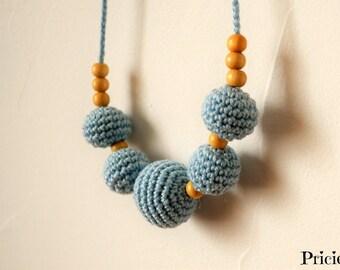 Nursing necklace, sky blue crochet Babywearing