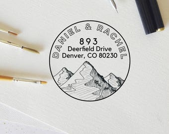 Custom Address Stamp, Return Address Self Inking Stamp, House Stamp, Mountain Stamp, Wedding Stamp, Personalized Rubber Stamp - CA730