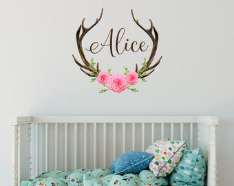 Rustic Wall Decal Etsy - Custom vinyl wall decals deer