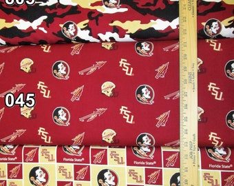 NCAA Florida State Seminoles Garnet & Gold College Logo Cotton Fabric by Sykel! 12 Options! [Choose Your Cut Size]