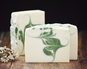 Jasmine Soap | Artisan Cold Process Soap, Floral Scented Soap Bar, Homemade Swirled Soap, Handmade Soap, Handcrafted Soap Gift For Women