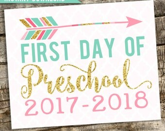 "First Day of Preschool 2017-2018 Photo Prop Pink and Gold, First Day Preschool , 1st Day School, First Day Preschool, Preschool Sign, 8""x10"""