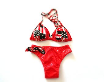 Swimsuit two-piece triangle red python