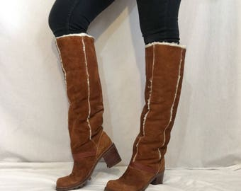 Vintage 1970's Tall Suede Sherpa Boots