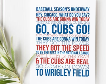 Chicago Cubs Song - Chicago cubs - Sports Typography - Major League Baseball