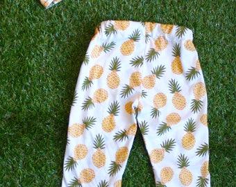 Baby Leggings - Pineapple Baby - Toddler Leggins - Pineapple Headband - Baby Clothes Girl - Baby Clothes Boy