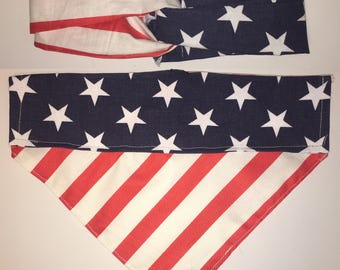 Stars and Stripes Over the Collar Bandana and Matching Headband