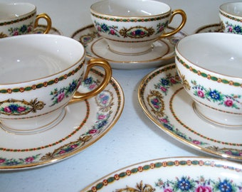 Bawo & Dotter Peronne Limoges Elite France 5 Cups 9 Saucers