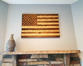 Wooden American Flag with chiseled texture, rustic USA Flag.