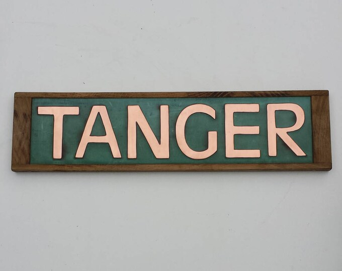 "House Sign Names in Oak and Copper, 3""/75 mm high in CAPITALS Antigoni,  shipped worldwide g"