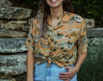 Orange tropical paradise Hawaiian button up shirt