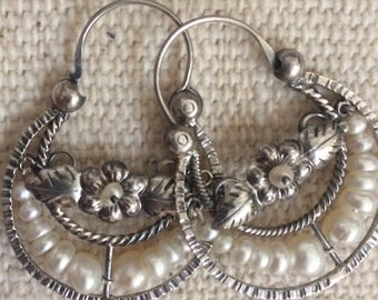 Blue Jaguar Vintage Style Mexican Sterling Silver and Pearl Filagree Hoop Earrings