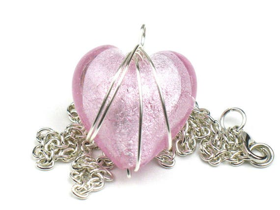 Pink Heart Necklace with Silver Chain and Wire Wrapped Pendant / Anniversary Gift / Best Friend Gift / Girlfriend Present