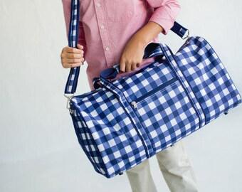 Blue Check Duffel Bag