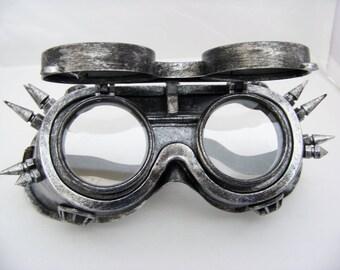 Antique Silver Steampunk Goggles 5012