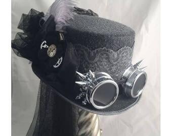STEAMPUNK TOP HATS, Steampunk Shop, Steampunk Accessories, Gunmetal, Steampunk Spiked Goggles