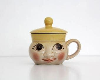 Vintage Ditmar Urbach Czechoslovakia Lided Face Mug // Art Deco Big Eyes Cup with Lid // Figural Ceramic