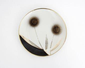 Vintage Winterling Marktleuthen Bavaria Plate // Mid Century Porcelain Plate // Black White Gold Plate // Handpainted Bavaria Porcelain