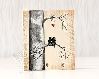 Rustic Gift for Him or Her Wood Sign Wood Love Bird Painting Wood 5th Anniversary Gift Custom Wedding Gift for Couple Heart in Tree Art