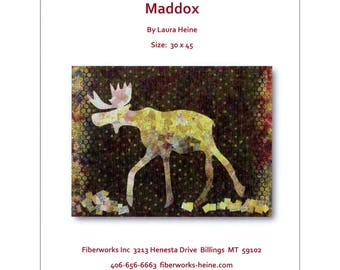 Maddox the Moose Collage Quilt Pattern by Laura Heine of Fiberworks