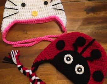 Hello Kitty or Ladybug Hat