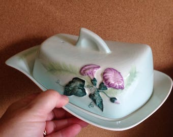 Vintage Carltonware Carlton ware scarce Butter / Cheese dish, Convolvulous MORNING GLORY green Australian design