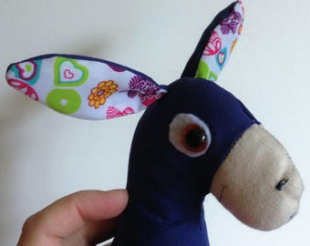 Handmade fabric stuffed donkey toy
