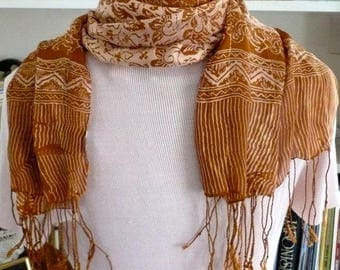 Long Rectangle Silk Scarf Cream and Tan Silk Scarf, Long Twisted Knotted Fringe (3)