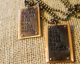 Jack Kerouac Writers Quote Dog Tag Style Pendant with Ball Chain Necklace