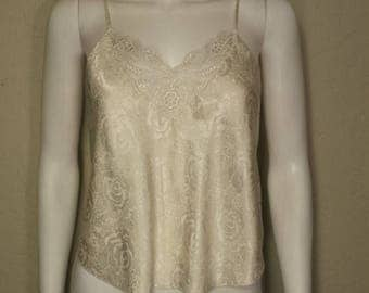 ON SALE Creme Demask rose patterned camisole