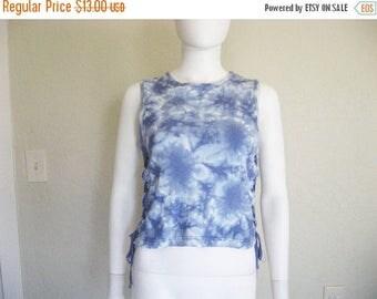 ON SALE Lace up Blue Tie dye sleeveless T shirt - Large