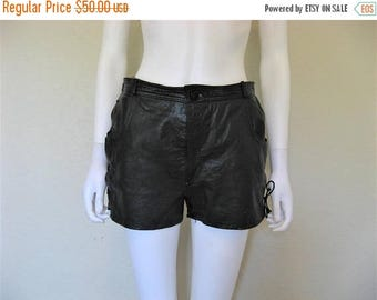 25% off SALE Black Leather Lace up Shorts