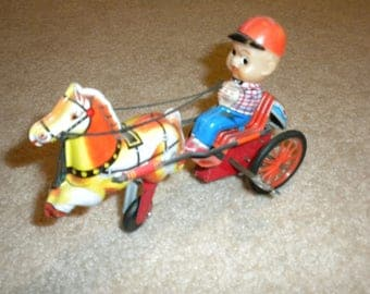 Wind up Horse and Jockey. Made in Japan