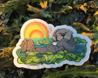 Tea Otter - by Decaffeinated Designs (4x4) Clear Vinyl Sticker