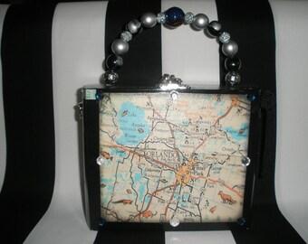 Vintage Orlando Map Cigar Box Purse, Cigar Box Handbag, Authentic, Wooden