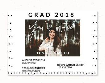 You're Invited Invitation, Graduation Card Template, Graduation Announcement Template, College Graduation Card, Senior Card template, m206