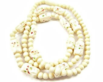 Carved Celluloid Necklace Art Deco Long 1930's