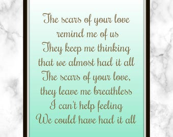 The scars of your love remind me of us They keep me thinking that we almost had it all - Adele - Lyrics - Print - Rolling in the Deep