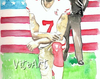 Buy 1 Get 1 FREE! Colin Kaepernick Knee Civil Rights Protest NFL Portrait American Flag Watercolor Illustration Limited Edition Poster Print