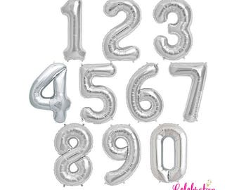 "Giant 34"" Silver Foil Number 0-9 Balloons - Choose from NUMBERS 0 thru 9"