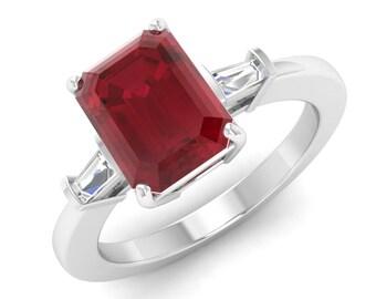 Ruby Engagement Ring, 14K White Gold, Emerald Cut, Natural Ruby Ring , Ruby Ring, Anniversary Ring, Wedding Ring, Diamond Engagement Ring
