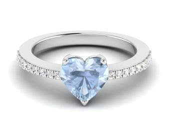 AAA Aquamarine Engagement Ring, 14K White Gold, Heart Shape Ring, Promise Ring, Birthday/ Anniversary Gift Ring, Wedding Ring, Unique Ring
