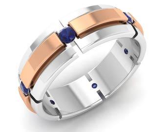Men Blue Sapphire Ring, Men Engagement Ring, 14K White Gold, Two Tone Ring, Men Ring, Anniversary Ring, Wedding Ring,Blue Sapphire Ring