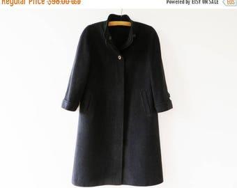 CIJ SALE Vintage 80s Alpaca Wool Coat German Loden Coat Virgin Wool Winter Coat Women Trachten Coat Dark Wool Trench Folk Medium Preppy Pea