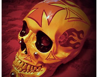 Rockabilly Skull Sculpture - Halloween, Psychobilly, Hot Rod, Pinstriped, Flames, Gifts for Him