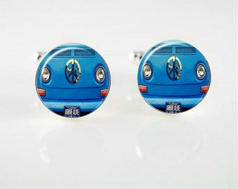 Peace VW Bus Cuff Links or Tie Clip
