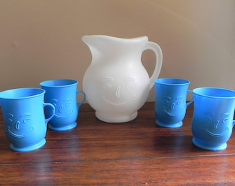 Vintage Kool Aid Pitcher and Four Blue Mugs, 1980's