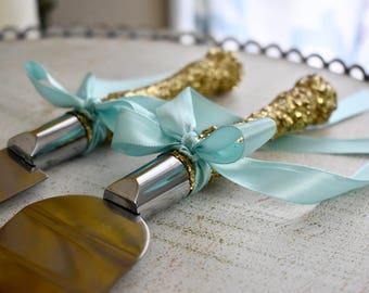 Cake Cutter Set- FREE shipping Blush or Champagne & Gold glitter, wedding cake server, cake knife, cake topper, wedding decorations,